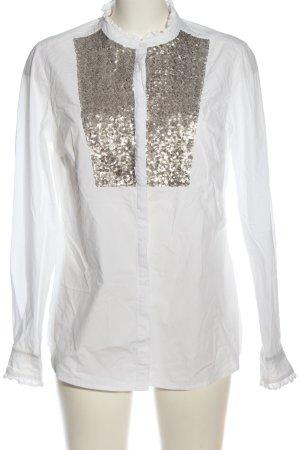 Boden Langarm-Bluse weiß-goldfarben Casual-Look