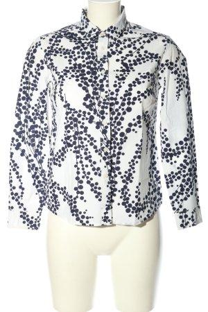 Boden Langarm-Bluse weiß-blau abstraktes Muster Casual-Look