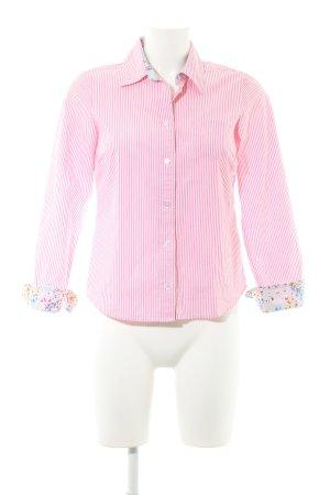 Boden Langarm-Bluse weiß-rosa Streifenmuster Business-Look