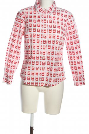 Boden Langarmhemd weiß-rot Allover-Druck Casual-Look