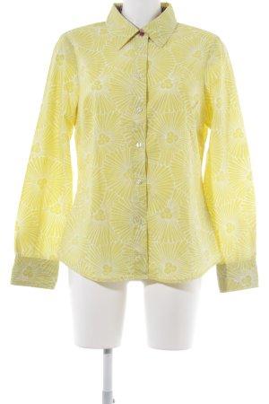 Boden Langarmhemd limettengelb-weiß florales Muster Business-Look