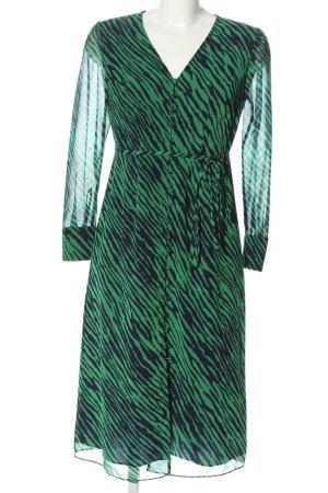 Boden Jurk met lange mouwen groen-zwart dierenprint extravagante stijl