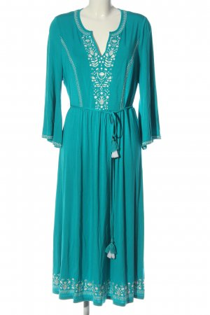 Boden Robe à manches longues turquoise-blanc élégant