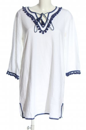 Boden Langarmkleid weiß-blau Casual-Look