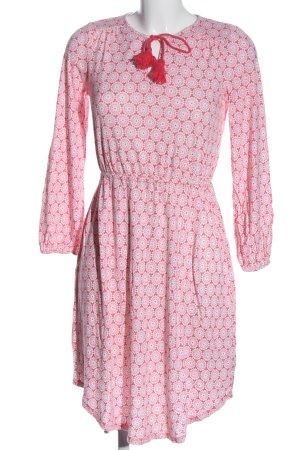 Boden Langarmkleid pink-weiß Allover-Druck Casual-Look