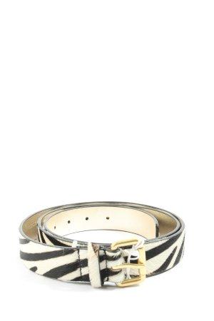 Boden Cinturón de cuero blanco-negro estampado de animales look casual