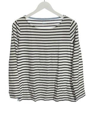 Boden Koszulka z długim rękawem biały-czarny Wzór w paski W stylu casual