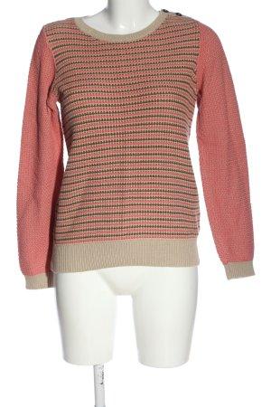 Boden Sweter z okrągłym dekoltem różowy-kremowy Wzór w paski W stylu casual