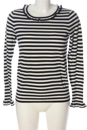 Boden Maglione girocollo bianco-nero motivo a righe stile casual