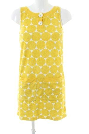 Boden schulterfreies Kleid weiß-blassgelb Punktemuster Casual-Look