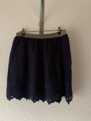 Boden Falda de encaje azul oscuro-color oro