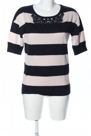 Boden T-Shirt black-cream striped pattern casual look