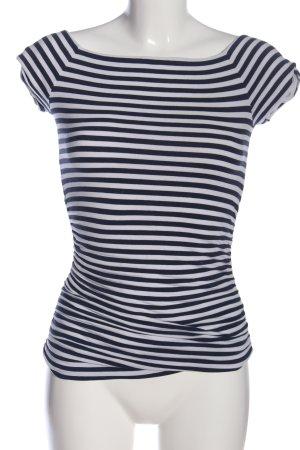 Boden T-shirt czarny-biały Wzór w paski W stylu casual