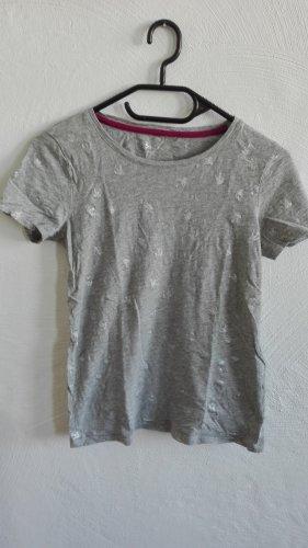 Boden T-Shirt Vögel Schwalben XS 34 grau silber