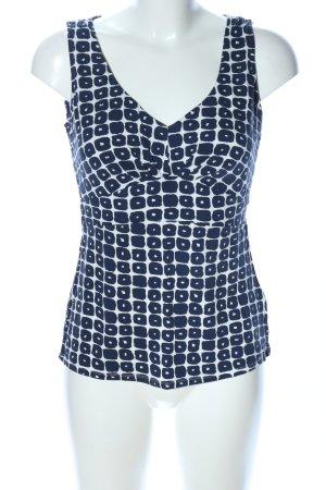 Boden Camiseta sin mangas blanco-azul estampado con diseño abstracto