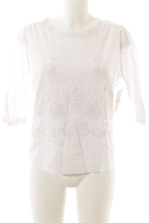Boden Transparenz-Bluse weiß Stickereiverzierung
