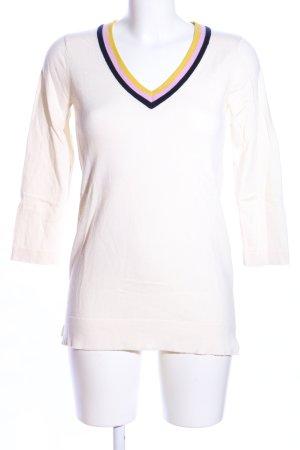Boden V-Ausschnitt-Pullover weiß Casual-Look