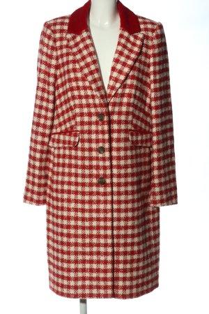 Boden Wełniany płaszcz kremowy-czerwony Wzór w kratkę W stylu casual