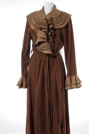 Cappotto lungo fino a terra marrone-color cammello stile stravagante