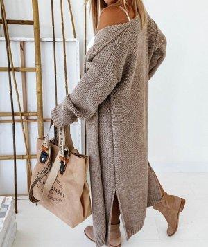 Manteau en tricot marron clair-bronze