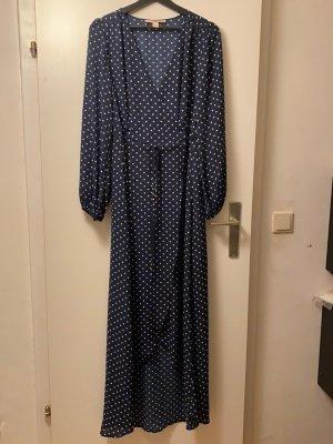 Bodenlanges Kleid blau-weiß