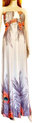 Bodenlanges Kleid mit Pfaufeder-Print