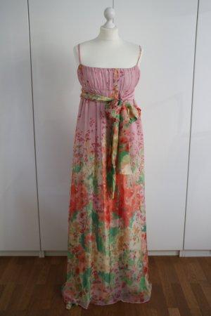 Bodenlanges Seidenkleid mit Blumenprint