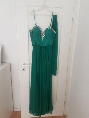 Bodenlanges smaragdgrünes Abendkleid 38