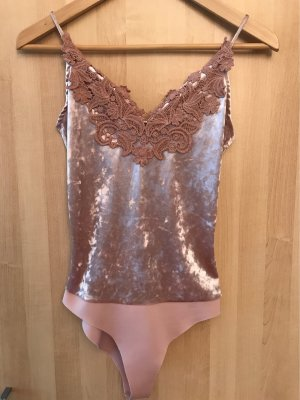 Bershka Backless Top rose-gold-coloured-dusky pink