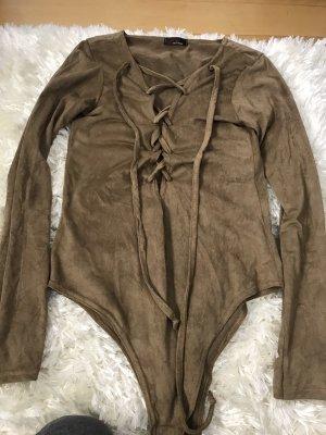 Blusa tipo body marrón claro