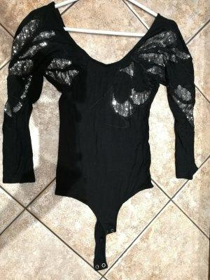 Vero Moda Blusa tipo body negro-color plata