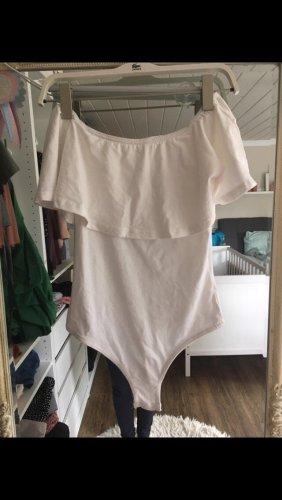 Body Bluse mit Carmen-Ausschnitt in weiß von Missguided Größe 34