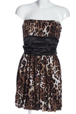 Body Cover Off the shoulder jurk bruin-zwart luipaardprint extravagante stijl