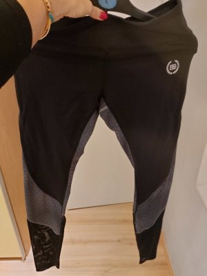 Body Engineers Leggings black-silver-colored nylon