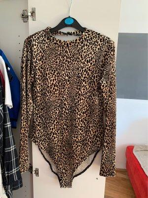 H&M V-hals shirt zwart-lichtbruin