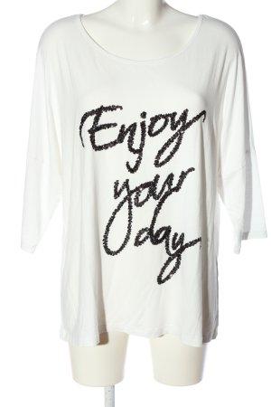 BODY FLIRT Kurzarm-Bluse weiß-schwarz Casual-Look