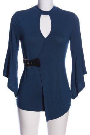 BODY FLIRT Langarm-Bluse blau-schwarz Casual-Look