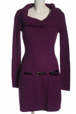BODY FLIRT Pulloverkleid lila Zopfmuster Casual-Look