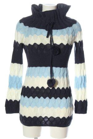 BODY FLIRT Maglione dolcevita blu-bianco motivo a righe stile casual