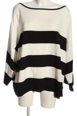BODY FLIRT Kraagloze sweater zwart-wolwit gestreept patroon casual uitstraling
