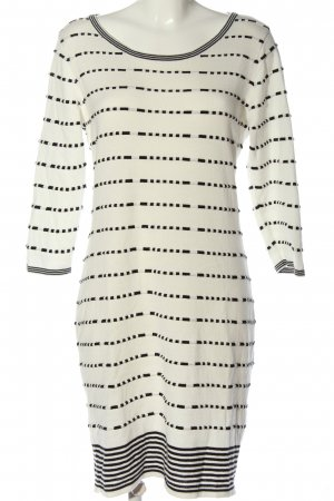 BODY FLIRT Knitted Dress natural white-black striped pattern casual look