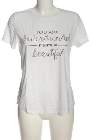 BODY FLIRT T-shirt blanc-noir lettrage imprimé style décontracté