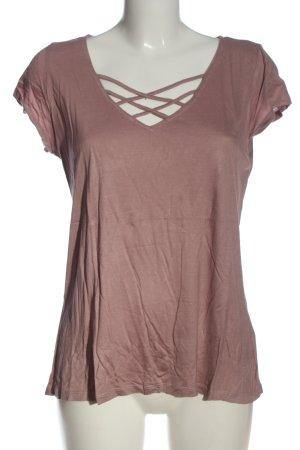 BODY FLIRT T-shirt col en V rose moucheté style décontracté