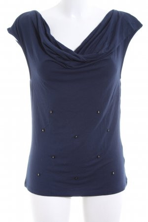 Cowl-Neck Shirt blue business style