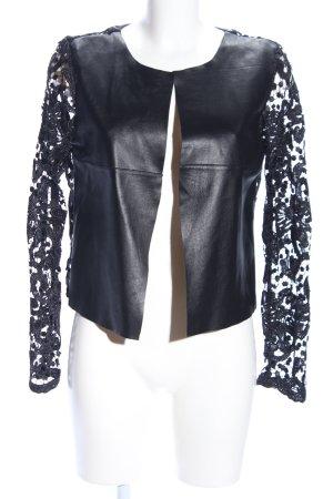 Veste courte noir Mélange de motifs style décontracté