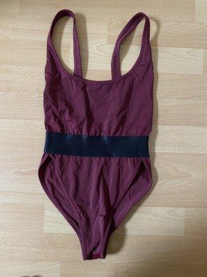 Hamade Activewear Maillot de bain noir-bordeau
