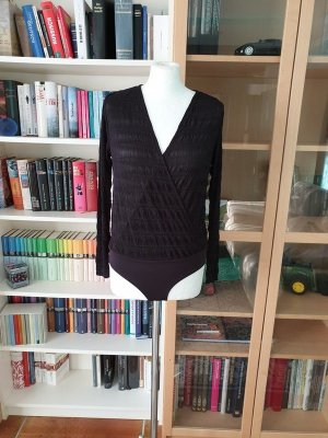 Body Hemd Bluse Top schwarz Pieces Gr. S (36) V-Ausschnitt