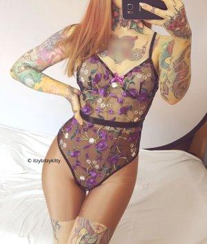 Body Mesh transparent Bügel floral geblümt bestickt Dessous Lingerie S/M