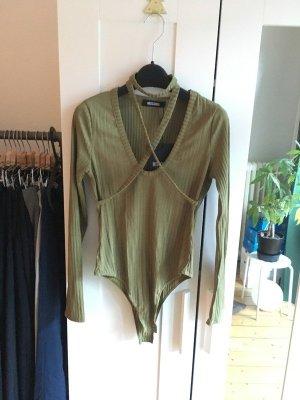 Missguided Shirtbody groen-grijs-olijfgroen Gemengd weefsel