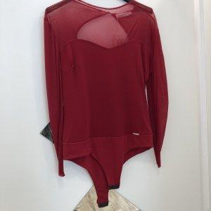 Body mit Netzärmeln in rot
